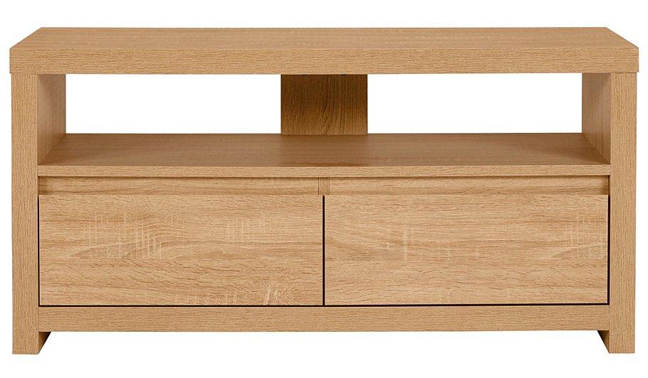 natural wood tv stand unit lounge living room furniture modern stylish 2 drawers ebay. Black Bedroom Furniture Sets. Home Design Ideas
