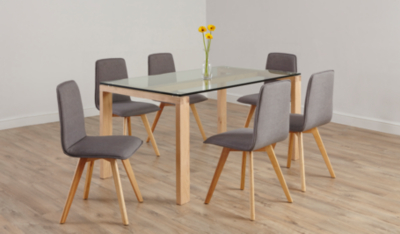 Winston Rectangular Dining Table   Oak And Glass