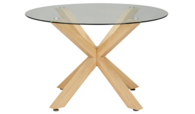 Winston Circular Dining Table Oak and Glass Furniture George