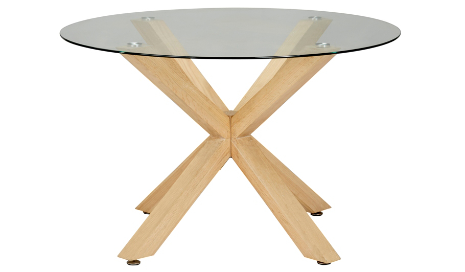 George Home Winston Circular Dining Table Oak and Glass Home