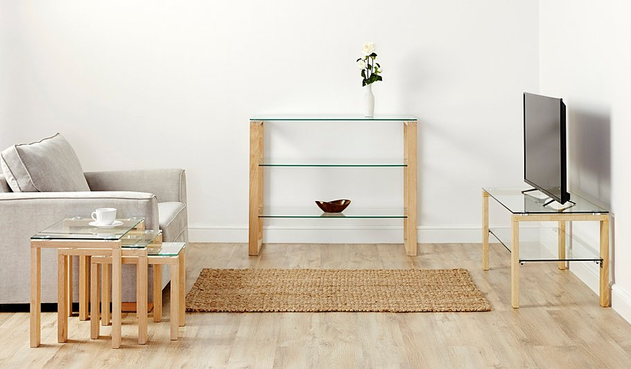 George Home Winston Coffee Table Oak And Glass