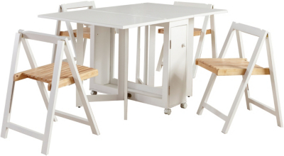 Awesome Compact Folding Dining Table And Chairs Part - 12: George Home Folding Compact Dining Table And 4 Chairs - White | Home U0026  Garden | George At ASDA