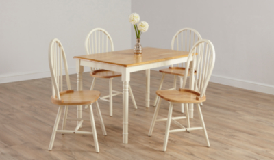 Yvette Pair Of Dining Chairs   Oak Effect And Cream