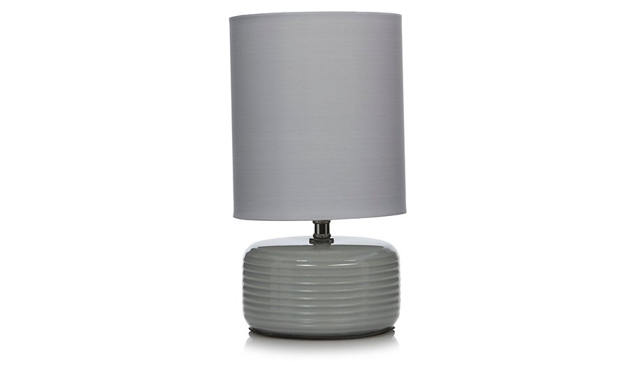 george home ridged ceramic table lamp grey table lamps. Black Bedroom Furniture Sets. Home Design Ideas