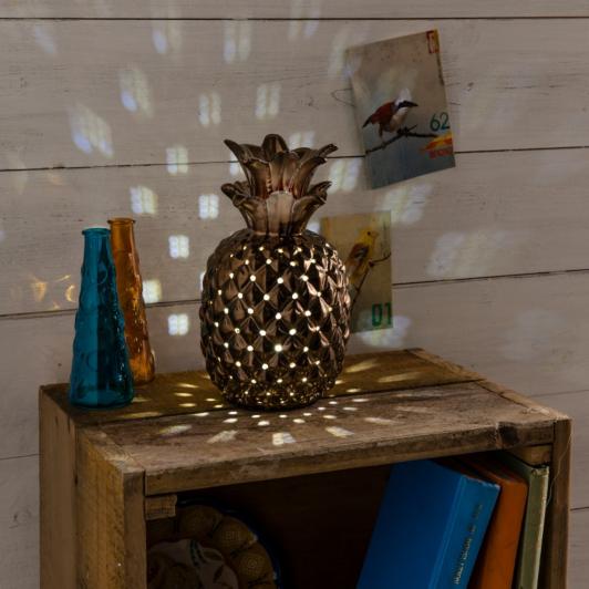 Copper Effect Pineapple Table Lamp Living Room Lamps Asda