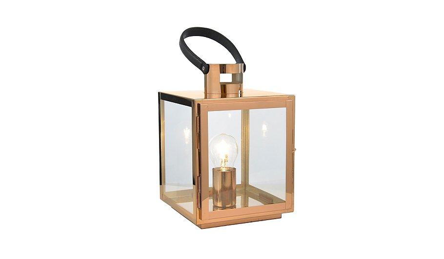Copper Effect Lantern Lamp