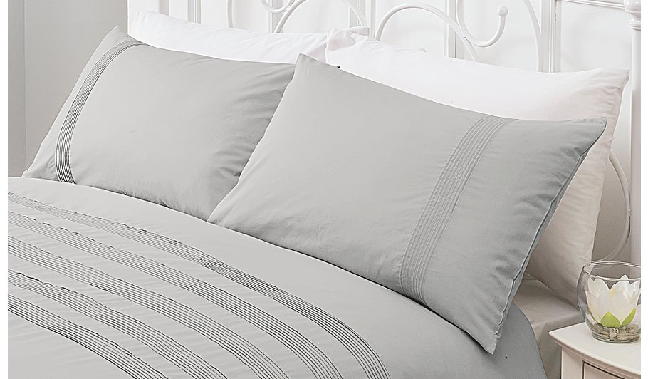George Home 100 Cotton Grey Pintuck Duvet Set Home
