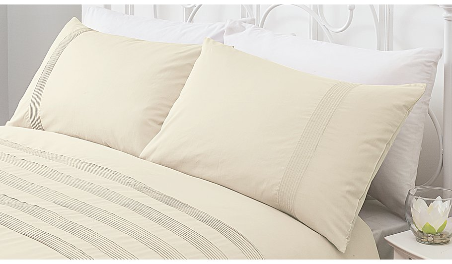 George Home 100 Cotton Cream Pintuck Duvet Set Covers At Asda