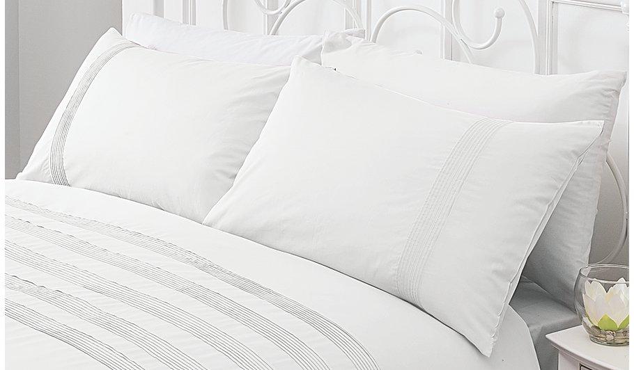 100 Cotton Pintuck Duvet Cover White