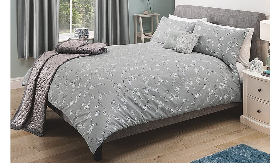 Gray Palladium Quilt Set : George home butterfly floral duvet set covers