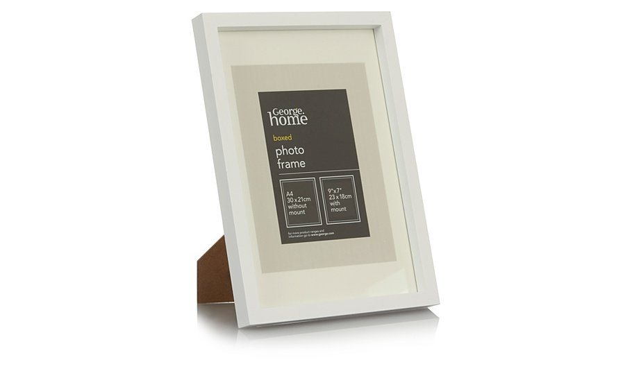 george home white boxed photo frame a4 home garden. Black Bedroom Furniture Sets. Home Design Ideas