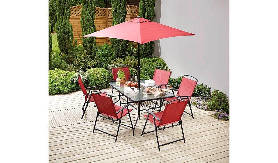 miami 8 piece bistro red home garden george at asda - Garden Furniture 8 Piece