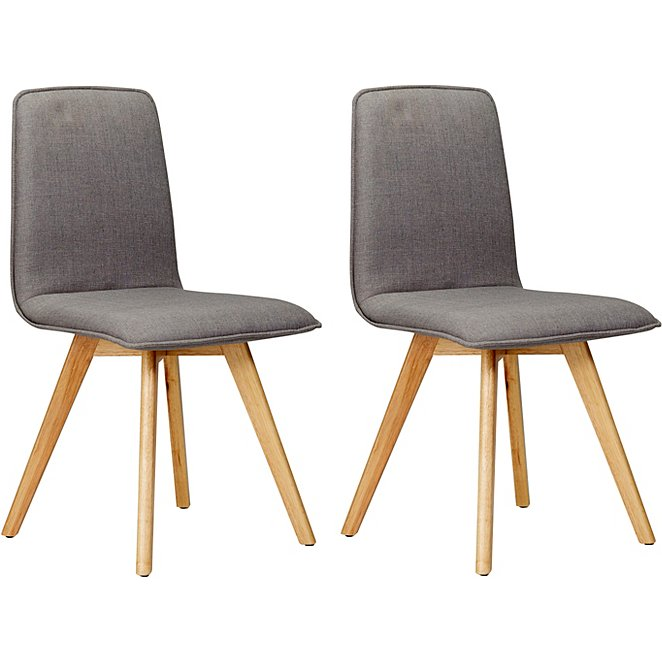 George Home Winston Upholstered Pair Of Dining Chairs Grey Home
