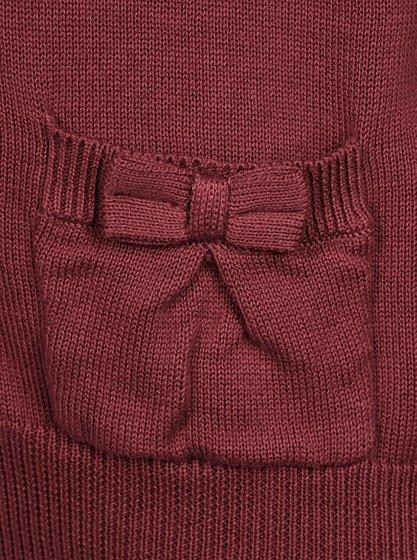 ... so cheap 28c83 f92c1 Girls School Bow Pocket Cardigan – Burgundy ... 69c5e4a52