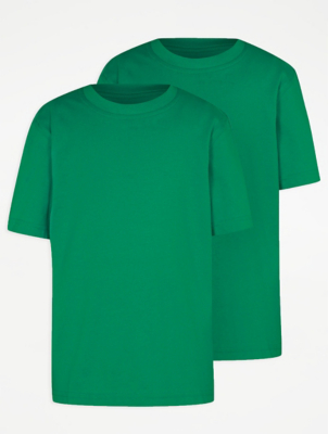 Green Crew Neck School T-Shirt 2 Pack
