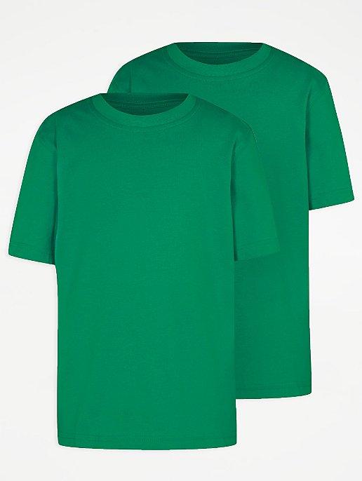 45e4f91f0d Green Crew Neck School T-Shirt 2 Pack   School   George