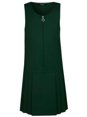 Girls Bottle Green Drop Waist School Pinafore Dress