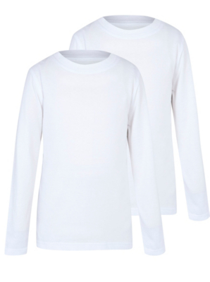 Boys White Crew Neck Long Sleeve School T-Shirt 2 Pack