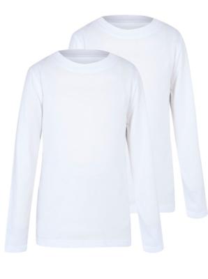 Boys White Crew Neck Long Sleeve School T-Shirt 2 Pack