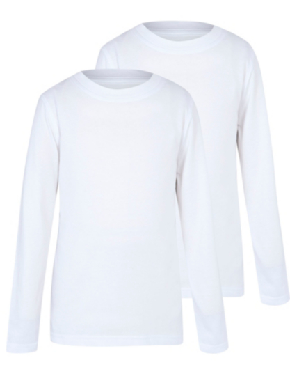 Boys School 2 Pack Crew Neck Long Sleeve T-shirts – White | School ...