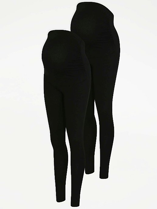 a9bd299ad066b8 Maternity Black Over Bump Leggings 2 Pack | Women | George