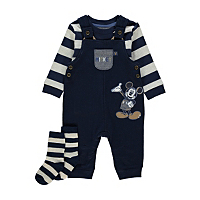 Mickey Mouse Dungarees Top And Socks Set Baby George