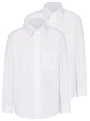 Boys White Long Sleeve School Shirt 2 Pack
