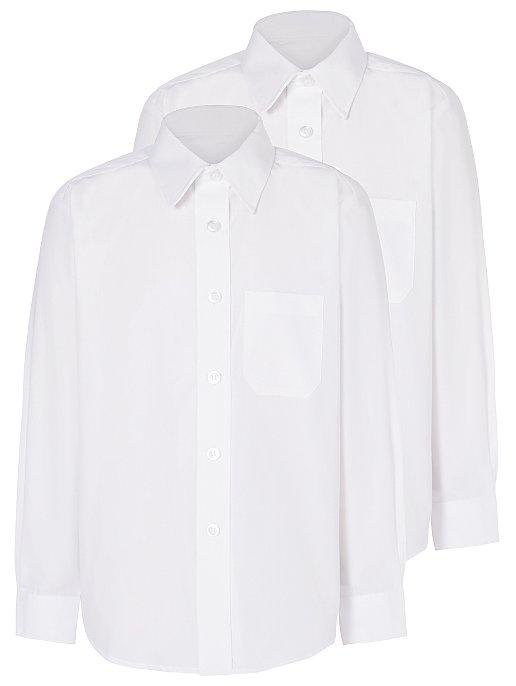 efa25a7c9c80 Boys School 2 Pack Long Sleeve Shirts - White | School | George at ASDA