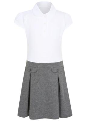 Girls School Jersey Dress Grey George