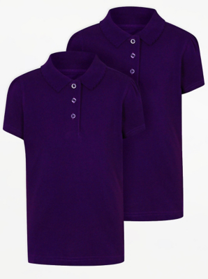 Girls Purple Scallop School Polo Shirt 2 Pack