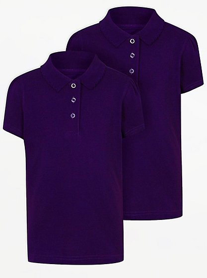 Girls purple school scallop polo shirt 2 pack school for Polo shirt girl addiction