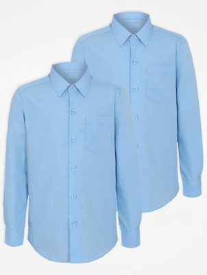 Boys Light Blue Slim Fit Long Sleeve School Shirt 2 Pack