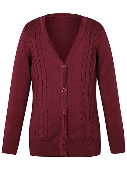 Girls Burgundy School V-Neck Cable Cardigan | School | George