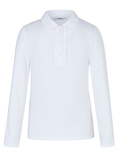 girls school long sleeve ruffle front polo shirt white