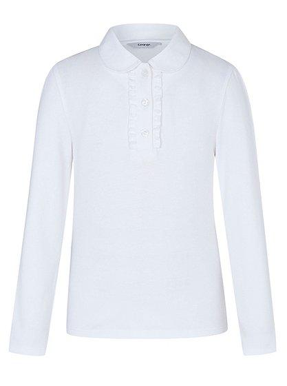 Girls School Long Sleeve Ruffle Front Polo Shirt White