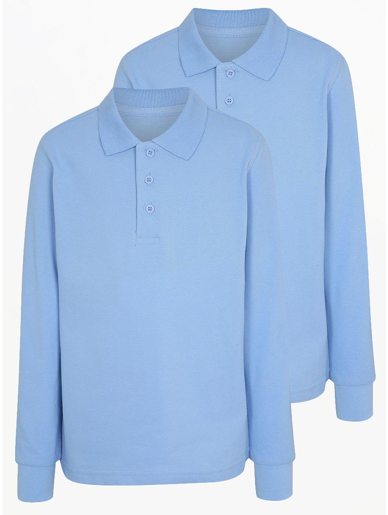Boys Light Blue Long Sleeve School Polo Shirt 2 Pack School George