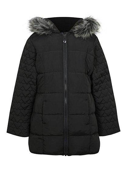 wadded faux fur hood trim coat kids george at asda. Black Bedroom Furniture Sets. Home Design Ideas