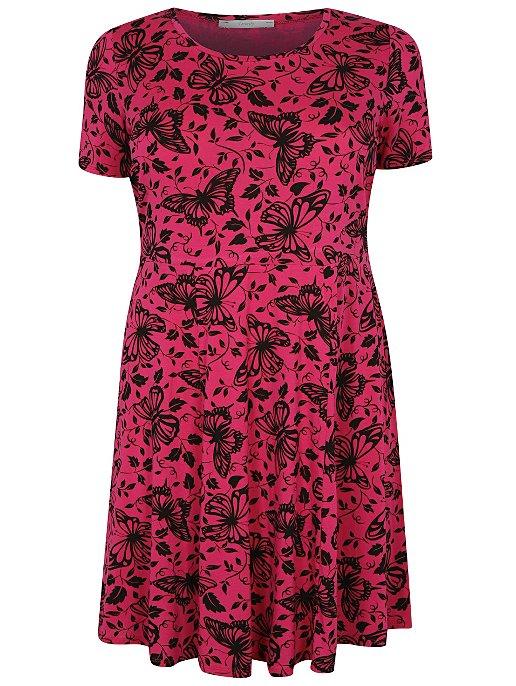 cebae02c85 Plus Size Butterfly Print Skater Dress