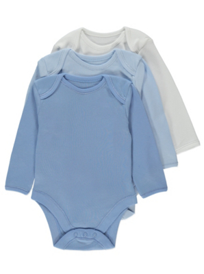 Blue Long-Sleeved Bodysuit 3 Pack