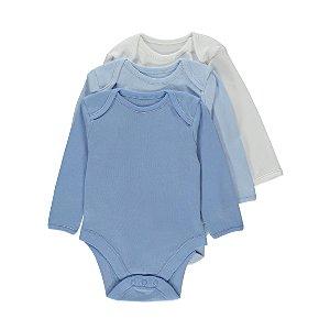 Blue Long-Sleeved Bodysuit 3 Pack