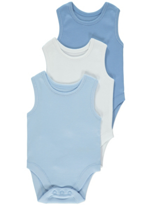 Blue Sleeveless Bodysuits 3 Pack