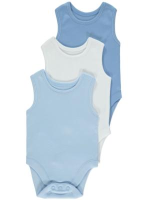 Blue Sleeveless Bodysuits 3 Pack