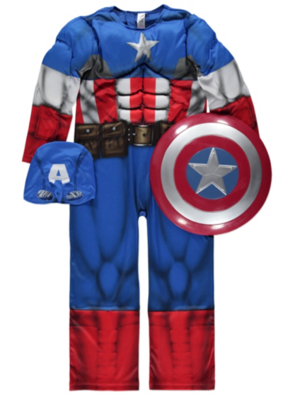 Official Captain America fancy dress costume consisting of jumpsuit and Official Marvel licensed Captain America fancy dress costume years with Shield & Mask, Made for George Collection. by Marvel for George. £ Eligible for FREE UK Delivery. Only 5 left in stock - order soon.
