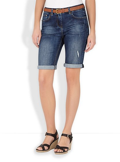 Knee Length Belted Denim Shorts | Women | George at ASDA