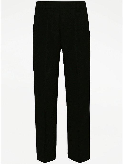 Boys Black Plus Fit Half Elasticated Waist School Trousers