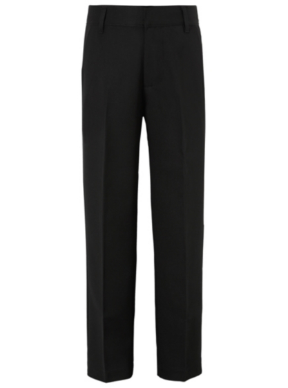 Boys School Slim Fit Flat Front Trousers Black School