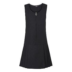 Girls Black Drop Waist School Pinafore Dress