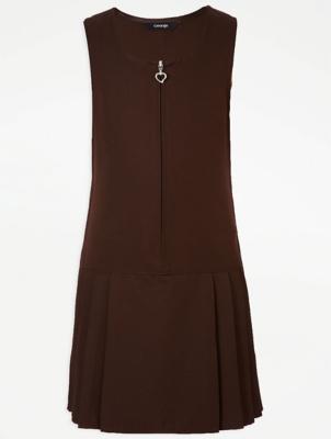Girls Brown Drop Waist School Pinafore Dress