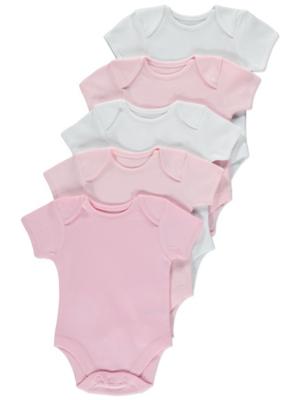 Pink Short Sleeve Bodysuit 5 Pack