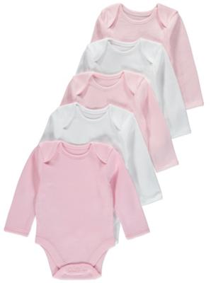 Pink Long-Sleeved Bodysuit 5 Pack